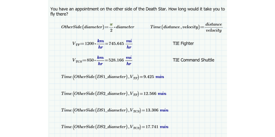 Death Star travel calculations.