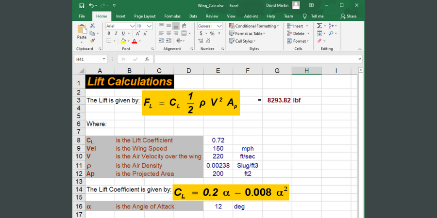 Traditional spreadsheet showing lift equations.