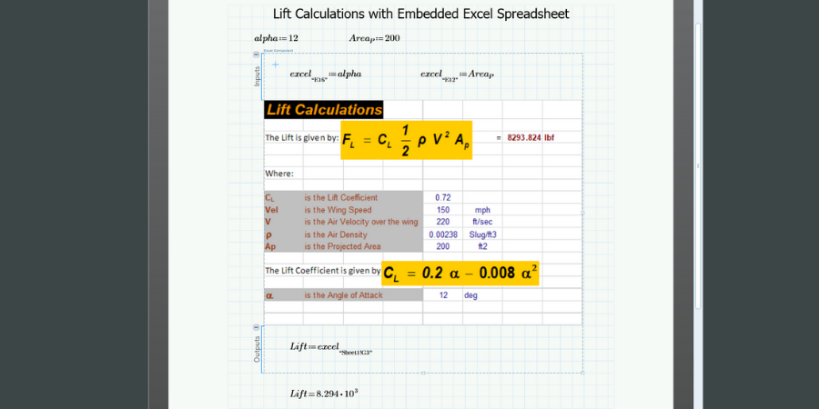 Spreadsheet calculations embedded in PTC Mathcad worksheet.