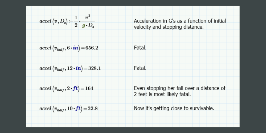 Equation to calculate the acceleration in G's based on the stopping distance.