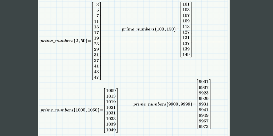 Prime number program output.