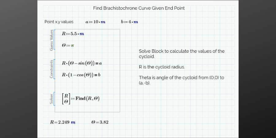 Equations for finding brachistochrone curve for a given end point.