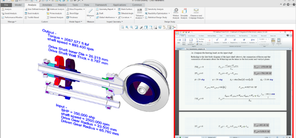 Transmission assembly in Creo Parametric with a driving worksheet in PTC Mathcad.